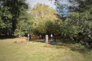 image d'une séance de yoga de groupe en extérieur